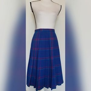 Pendleton VINTAGE Blue Plaid Wool Skirt Pleated